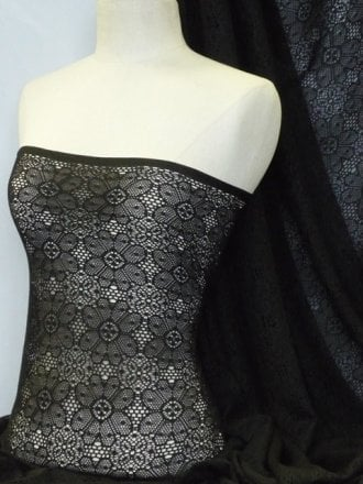 Crochet Knit Lace Stretch Fabric- Black Daisy Q875 BK SL