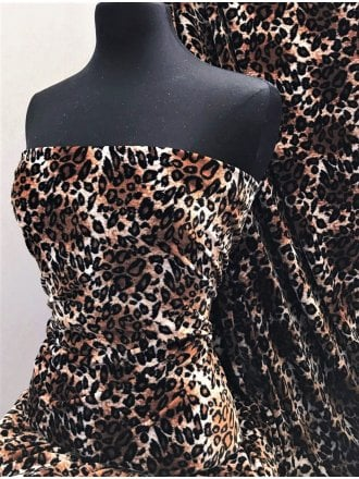 Plush Velour Animal Print Velvet Soft Fabric- Wild Leopard SQ276 CFBR