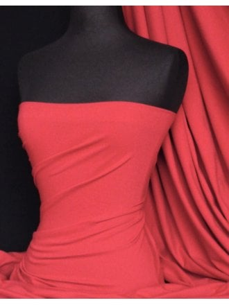 Cotton Lycra Jersey 4 Way Stretch Fabric - Bright Red Q35 BTRD