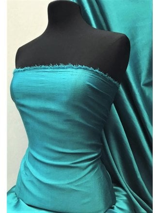 Satin Faux Silk Effect Woven Fabric Material- Teal SQ280 TL