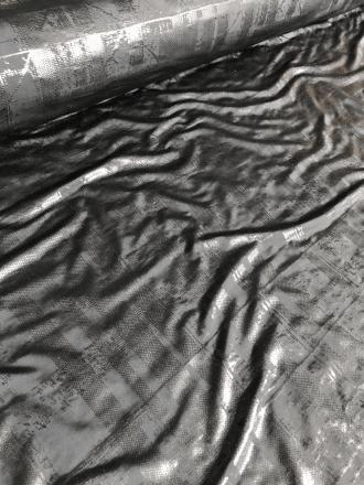 20 METRES Foil Effect Grid Pattern 4 Way Stretch Lycra Fabric Job Lot Bolt- Black JBL88 BK
