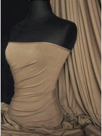 Heavy Viscose Cotton Stretch Lycra Fabric- Camel Q896 CML
