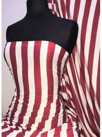 100% Viscose Stretch Fabric Material- Vertical Stripe Red/Ivory SQ289 RDIV