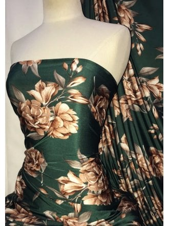 Printed Silk Touch 4 Way Stretch Fabric- Autumn Florals SQ298 FSTGRN