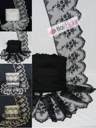 Scalloped Floral Design Extra Wide Non-Stretch Net Trim- Black SY241 BK