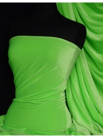 Velvet /Velour 4 Way Stretch Spandex Lycra- Flo Green Q559 FLGRN
