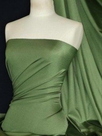 Shiny Lycra 4 Way Stretch Material- Khaki Green Q54 KH