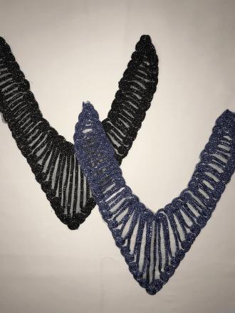 2 Pieces Lurex Neck Pieces Net Embellishments Job Lot Bolt Pack- JBL147 MLT