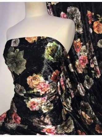 NEW Marble Printed Velvet/Velour Stretch Fabric- Black Multi Floral SQ310 BKMLT