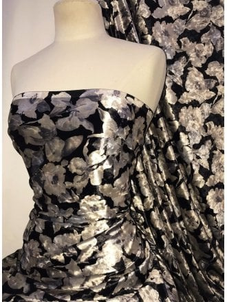 NEW Marble Printed Velvet/Velour Stretch Fabric- Black/Beige Floral SQ311 BKBGE