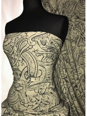 Smooth Touch Woven Blouse/Dress Fabric- Henna Design SMT32 KHBK