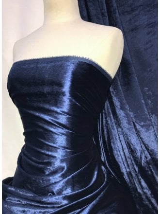 Crushed (Satin Look) Glitz Velour/Velvet Woven Interior Fabric- Navy SQ269 NY