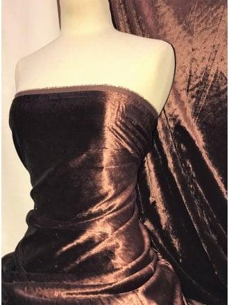 Crushed (Satin Look) Glitz Velour/Velvet Woven Interior Fabric- Brown SQ269 BRN