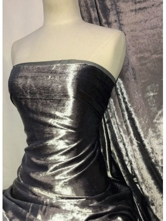 Crushed (Satin Look) Glitz Velour/Velvet Woven Interior Fabric- Metal Grey SQ269 MTGR