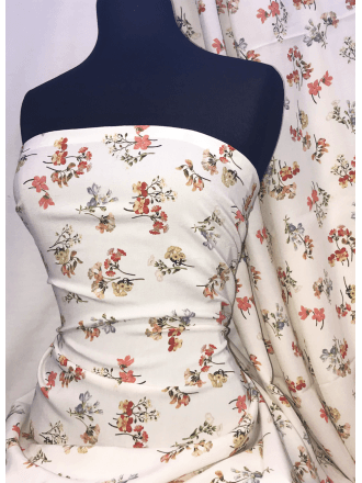 Georgette Crepe Soft Touch Sheer Fabric- Peach Floral Blossom SQ334 IVPCH
