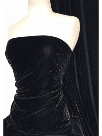 Micro Velvet Glitter Fabric Luxuriously Soft Velour- Black SQ324 BK