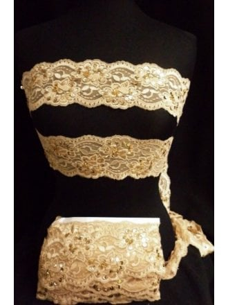 24 METRES Lace Sequin Stretchy Trim Job Lot Bolt Pack- Gold Sand JBL182 GLD