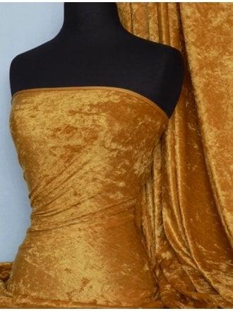 12 1/2 METRES Clearance Crushed Velvet/Velour Stretch Material Job Lot Bolt- Mustard JBL210 MST