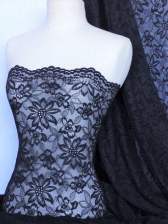 Lace Scalloped Flower 4 Way Stretch Fabric- Navy Q891 NY