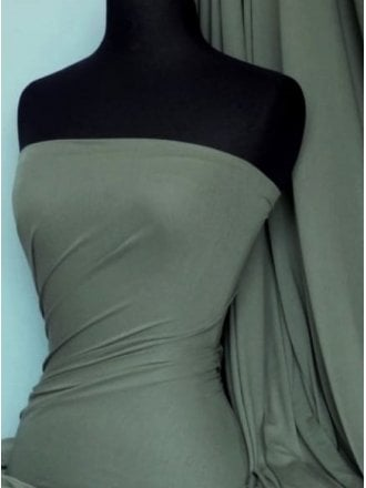 20 METRES 100% Viscose Stretch Fabric Material Wholesale Roll- Dark Khaki JBL253 DKH
