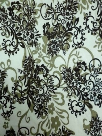 20 METRES Viscose Cotton 4 Way Stretch Victorian Design Fabric Wholesale Roll- Ivory/Brown JBL261 BRNIV