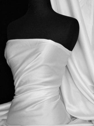 20 METRES Cotton Poplin Sheen Shirt  Fabric Wholesale Roll- White JBL282 WHT