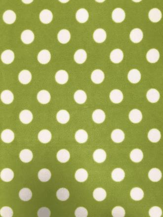 Polar Fleece Anti Pill Washable Soft Fabric- Giant Polka Dots (Lime) SQ356 LMWHT