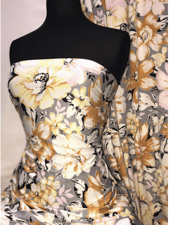 Viscose Elastine Stretch Fabric- Mustard/Grey Florals SQ357 MSTGR