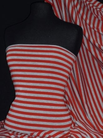 Viscose Cotton 4 Way Stretch Fabric- Red/Grey Stripe Q1152 RDGR