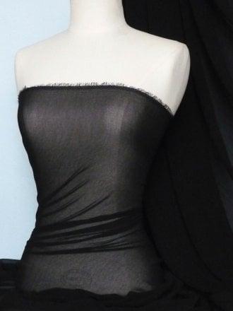 Georgette Chiffon Soft Touch Sheer Fabric- Black GEOR209 BK