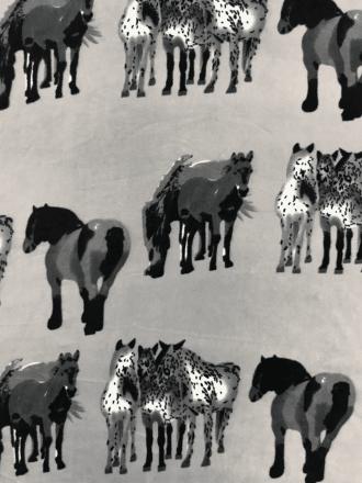 Polar Fleece Anti Pill Washable Soft Fabric- Horses Grey/Black SQ361 GRBK