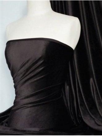 Triple Micro Velvet Velour Fabric Luxuriously Soft Velvet- Black SQ364 BK