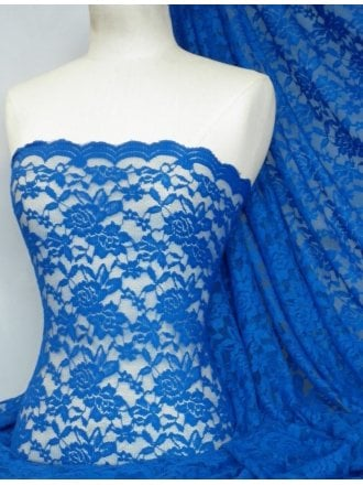 20 METRES Lace Rose Design Scalloped 4 Way Stretch Fabric Wholesale Roll- Royal Blue JBL323 RBL