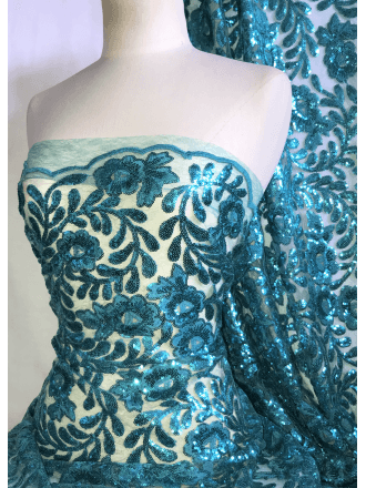Showtime Sequins Dress/Dance Net Fabric- Turquoise Floral Embroidery SEQ72 TQS