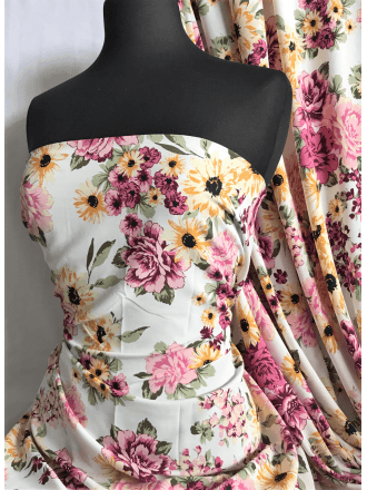 Crepe Blouse/Dress Fabric- Pink/Yellow Carnation SQ368 IVMLT