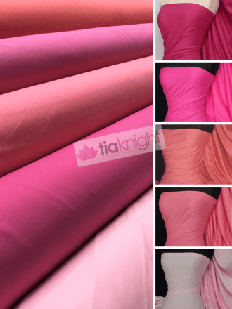 25 METRES 100% Cotton Interlock Knit Soft Jersey T-Shirt Fabric Wholesale Roll- Pink Shades JBL334