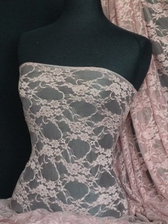 Flower Stretch Lace Fabric- Dusky Pink Q137 DPN