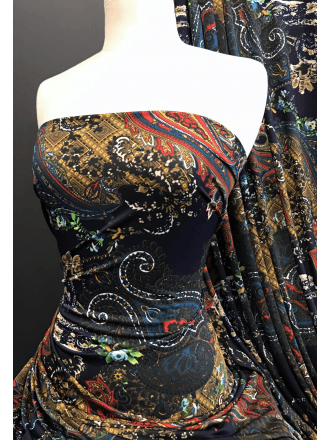 Printed Silk Touch 4 Way Stretch Fabric- Paisley Paradise SQ372 NYMLT