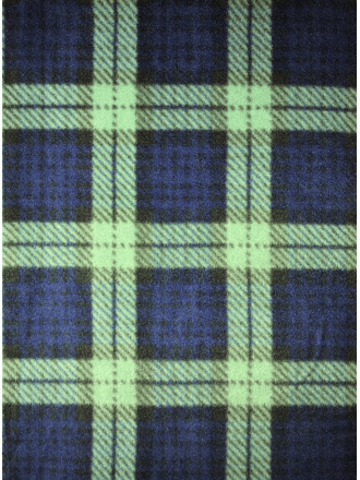 Polar Fleece Anti Pill Washable Soft Fabric- Old School Tartan Navy/Green Q1406 NYGRN