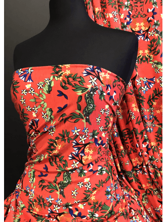 Spun Poly Viscose Elastine 4 Way Stretch Fabric- Orange/Multi Gardenia SQ374 ORMLT