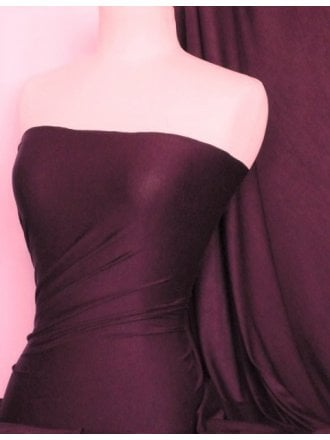 Viscose Cotton Stretch Lycra Fabric- Aubergine Q300 AUB