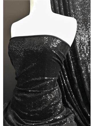 Showtime Dress/Dance Velvet Stretch Fabric- Celesté Sparkle SEQ81 BK
