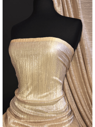 Pleated Crinkle Silver Shimmer Stretch Fabric- Honey Beige SQ385 HNBG