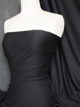 100% Cotton Interlock Knit Soft Jersey T-Shirt Fabric- Black Q60 BK