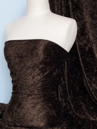 Crushed Velvet/Velour Stretch Material- Chocolate Brown Q156 CHBR