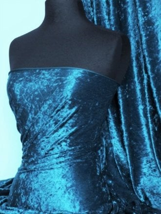 Crushed Velvet/Velour Stretch Material- Teal Q156 TL