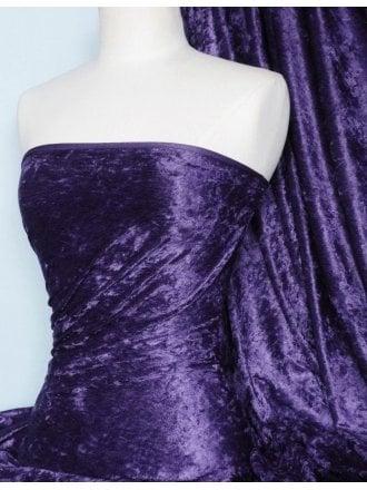 Crushed Velvet/Velour Stretch Material- Dark Purple Q156 DKPPL