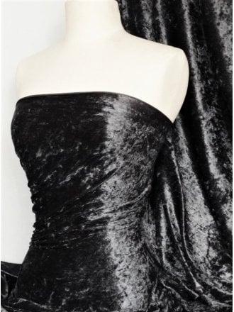 Marble Texture Velvet Lycra Stretch Fabric- Black SQ388 BK