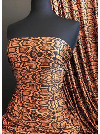 Printed Silk Touch 4 Way Stretch Fabric- Orange/Black Reptile SQ380 ORBK