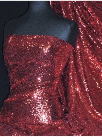 Showtime Fabric All Over Stitched 3mm Sequins- Wine SEQ53 WN